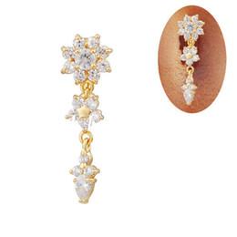 Las mujeres atractivas de oro en Línea-Al por mayor-FR650 de 18 quilates chapado en oro para mujer Bar joyería atractiva Rhinestone claro 14G vientre del anillo del ombligo cuelga la perforación