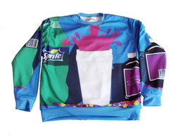 Wholesale- New Men women print Pullovers 3d sweatshirts Hoodies colorful Sprite Space galaxy sweaters tops free shipping