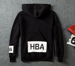 Wholesale- Men's Fashion Fleece Hoodies Men Hip Hop Sweatshirts HBA Hoodie Man Winter Hooded Jacket