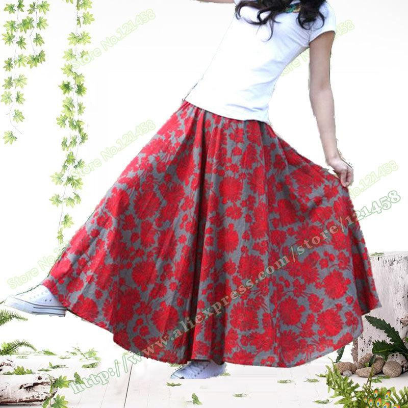 Wholesale-Autumn Cotton Linen Vintage Casual Print Red Flowers ...