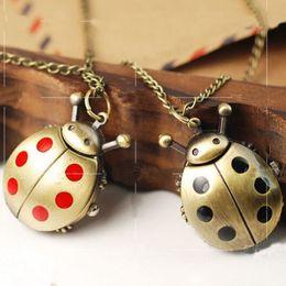 Mujer del reloj del collar en venta-80cm Cadena mayor-vendedores calientes del escarabajo del reloj animal de bronce del reloj de bolsillo del cuarzo de la Mujer Relojes Hombres collar de Steampunk del reloj envío libre