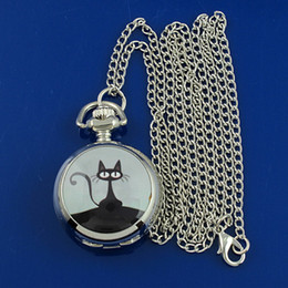 Wholesale Mini strange cat pendant silver Table cover small mirror girl Women s necklace pocket watch HB0024