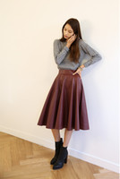 Wholesale PU Pleated Skirts Long Maxi Leather Skirt Female Vintage Black For Women s Clothing