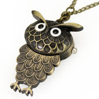 Casual Unisex Quartz Wholesale-Free Shipping! Lovely Cinnamon Owl Quartzs Pocket Watches with Ring Classic style Hours Clocks, Free Shipping