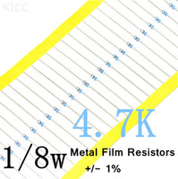Al por mayor-1 / 8W 4.7K ohm +/- 1% resistencia de 1 / 8w 4K7 ohm Metal Film Resistencias / 0.125W color de la resistencia del anillo (200pcs / lot)
