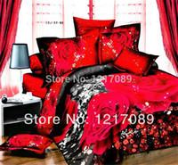 Wholesale SUNA unique wedding bedclothes cotton red Rose pc bedding set d Full king queen bed sheet Linen Duvet Quilt cover sets
