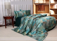 Wholesale Blue peacock feather print silk bedding comforter sets king size queen bedspreads duvet cover bed in a bag sheets bedroom quilt