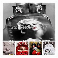 100% Cotton Woven Home Wholesale-Marilyn Monroe Duvet  Quilt Cover Set Bedding Set 4PCS