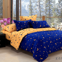 Wholesale home textiles Star Moon Figure bedding sets Duvet Cover Bed sheet Pillowcase pattern White black orange purple bedclothes