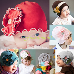 Wholesale Newest baby hats amp amp caps Big Flower Soft Beanies Hats For Years Infant Baby Kids fashion hat colors