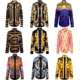 Wholesale-New Brand Men's shirts 3D Shirt Long Sleeve Blouse Tops Gold Baroque Blue Stripe Button Shirt Blue Floral Tiger Pint shirt