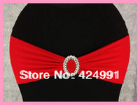 Wholesale Red Lycra Chair Bands amp Sash with Oval buckle Double Layer Lycra Bands amp Sash for Weddings Events Decoration