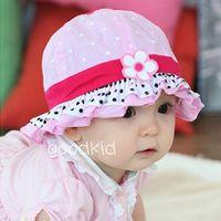 Wholesale New Arrival Flower Beach Sun Cap Spring Baby Caps Lace Children s Summer Hats Bucket Cap Cute Polka Dot Pattern Kids