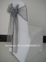 Arm Chair Spandex / Polyester wx-11 Wholesale-100pcs Spandex chair cover  wedding chair cover+100pcs organza chair sashes Silver Color