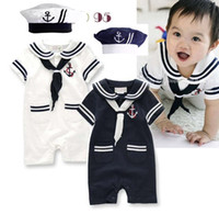 Boy baby sailor costumes - New summer baby rompers infants vestidos sailor style boys short sleeve jumpsuit with hat baby costume A