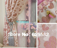 Wholesale Princess Window Drapes Shades Custom Made Heart Curtains for Kids Living Room Bedroom with Valances Laces