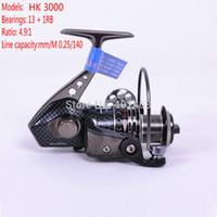 aluminium fly reels - Spinning reel Fishing reel Tokushima HK3000 Aluminium alloy folding rocker arm precision Ball Bearing