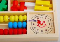 Precio de Cajas de madera relojes-envío de la venta caliente del niño de madera juguetes educativos del bebé de múltiples funciones de la caja de aprendizaje digitales bloques reloj despertador