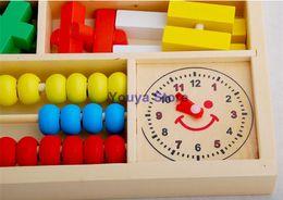 Cajas de madera relojes en venta-envío de la venta caliente del niño de madera juguetes educativos del bebé de múltiples funciones de la caja de aprendizaje digitales bloques reloj despertador
