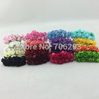 Wholesale Handmade Mulberry Paper Flower Bouquet wire stem Scrapbooking artificial Mini rose flowers wedding party Decor