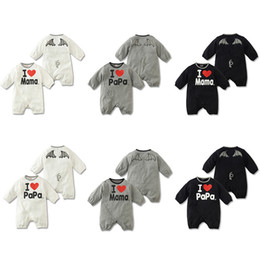 Wholesale-Free shipping Baby Rompers Kids i Love Mama and i love Papa Romper Girls Boys short sleeve jumpsuits baby lovely cotton Costume