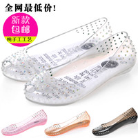 Wholesale Chinese brand Melissa rhinestone silks and satins open toe transparent crystal sandals shoes jelly shoes wedding shoes