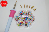 Wholesale Hot fix rhinestone applicator easy to handle pink and grey tips v v applicator wand power