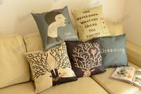 Cotton sectional sofa - Reindeer woman cartoon cotton linen case sofa decorative pillows home decor sectional couch covers cushion