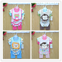 Cheap Wholesale-Fashion 2015 Baby Clothing Set 100% Cotton Active Cut Boy Girls Clothes New Born Pants + Baby Romper + Socks + Baby Bibs ST04