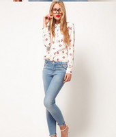 Wholesale White Black Long Sleeve Elegant Women Blouses amp Shirts Kiss Red Lip Print Casual Top Button Closure Gaga