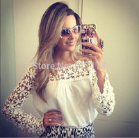 Cheap Wholesale-#1002 New Tops Women Blouse Lace Chiffon Full Sleeve Blouse Plus Size blusas de manga comprida blusa renda