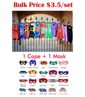 Wholesale Superhero cape Cape Mask superman batman spiderman super hero capes for kid Birthday Party Cosplay