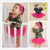 Spring / Autumn baby pink camo - Baby Girl Camo Rompers Dresses Summer Cotton Short Sleeve Camos Print Romper With TuTu Dress For Years