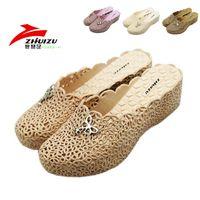 Women plastic toe cap - Cutout breathable summer toe cap covering slippers women platform wedges beach plastic sandals shoes
