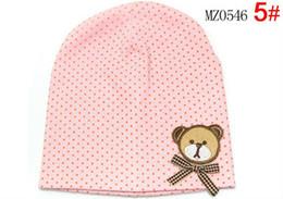 Wholesale fashion baby hat baby bear hat baby cap infant hat infant cap headress Dot bear double sleeve head cap