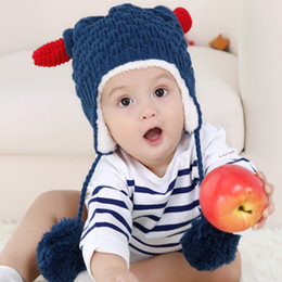 Wholesale Baby Hat Cattle Horn Shaped Baby Warm Winter Crochet Caps Baby Animal Hats Children s New Cute Hats Caps