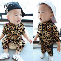 Wholesale Autumn children s clothing boy and girl set leopard print velvet child twinset outerwear trousers set