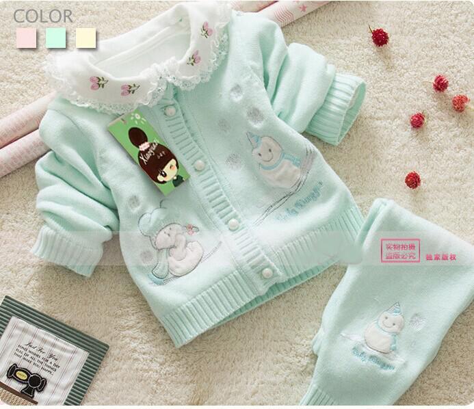 Wholesale 2015 Newborn Baby Sweater Set 100 Cotton Jersey Sweaters