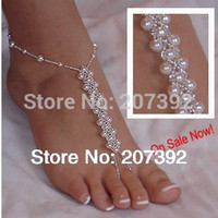 Wholesale single not a pair barefoot sandals high quality pearl beads anklet foot jewelry for beach wedding gift homewear yoga