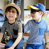 baby block decoration - summer stripe color block decoration boys clothing girls clothing baby child short sleeve T shirt A0415
