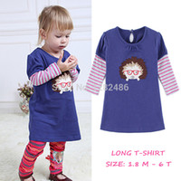 Wholesale Girls long sleeve casual wear long T shirt hedgehog applique embroidery children clothes girls clothing yrs