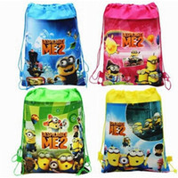Wholesale pc set despicable me Minion Plush Cartoon Kids Drawstring Printed Backpack beach Shopping School Traveling Bags waterproof bags