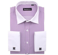 Cotton,Polyester french cuff shirt - New French cuff stripe mens dress shirts men shirt long sleeve camisa social diamond buttom high quality social shirt
