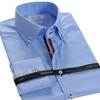 Casual Shirts Cotton,Polyester Turn-down collar Wholesale-NEW men business casual shirt Brand slim Fit long sleeve polo camisa shirts synthetic T31033 S M L XL XXL