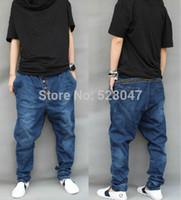 Harem Pants men color jeans - New Men s Harem Pants Denim Trousers Drop Crotch Solid Color Casual Tapered Jeans