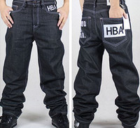 black jeans - Fashion boy black baggy jeans hip hop jeans skateboard and rap pants casual full length trousers big size