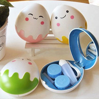Character design egg holder - Cute Egg Design Travel Contact Lens Case Box Set Cleaning Holder Soak Storage GS