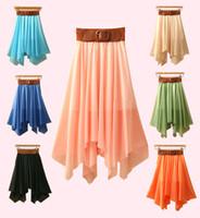 Wholesale Women Fashion Mid calf Asymmetrical Lolita Style Long Chiffon Skirts With Belt Ladies Skirt Long Dancing Skirt
