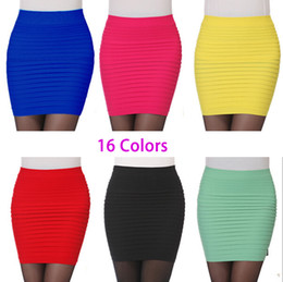 Wholesale-Cheapest New Fashion 2015 Summer Women Skirts High Waist Candy Color Plus Size Elastic Pleated Short Skirt 16 Colors