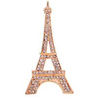 Wholesale Yazilind Jewelry Gorgeous Gold Tone Eiffel Tower Paris Brooch Pin Rhinestone Inlay Women Charming